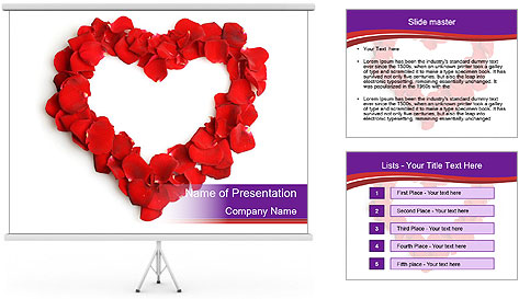 Beautiful heart of red rose PowerPoint Template