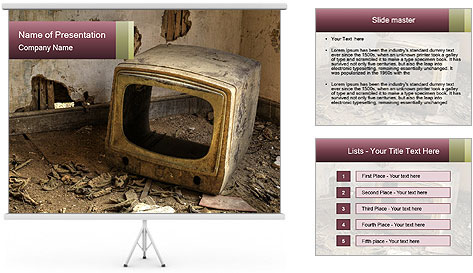 A Broken Television PowerPoint Template