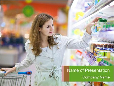 Beautiful young woman shopping PowerPoint Template
