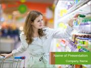Beautiful young woman shopping PowerPoint Template