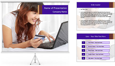 Cute online shopping PowerPoint Template