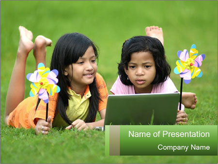Picture of young girls PowerPoint Templates