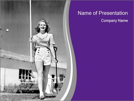 Woman walking PowerPoint Template