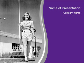 Woman walking PowerPoint Template