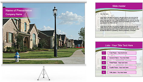 Houses with beautiful lawns PowerPoint Template