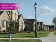 Houses with beautiful lawns PowerPoint Templates