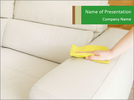Cleaning the white couch PowerPoint Templates