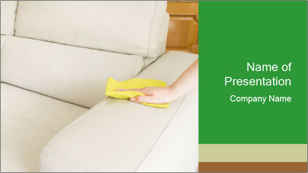 Cleaning the white couch PowerPoint Template