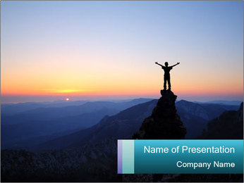 Man on top of the mountain PowerPoint Template - Slide 1