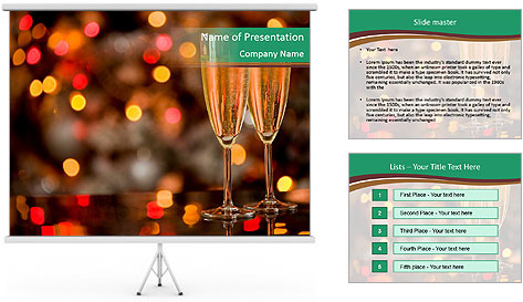 Two champagner glasses PowerPoint Template