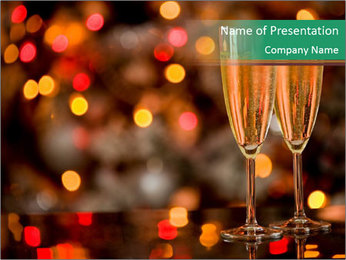 Two champagner glasses PowerPoint Template - Slide 1