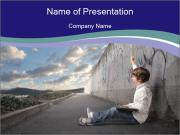 Triumphing child sitting PowerPoint Templates