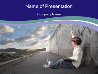 Triumphing child sitting PowerPoint Template - Slide 1