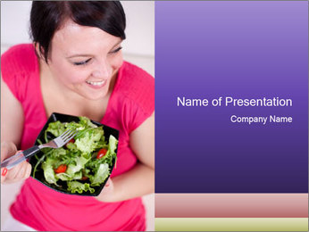 Woman eating a salad PowerPoint Template