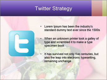 Woman eating a salad PowerPoint Templates - Slide 9