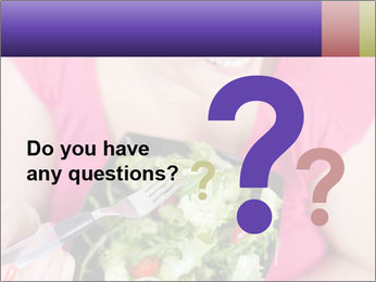 Woman eating a salad PowerPoint Templates - Slide 96