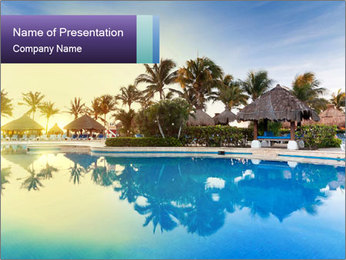 Tropical swimming pool PowerPoint Template - Slide 1