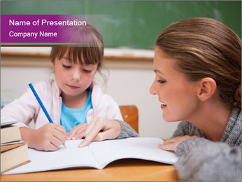 Cute schoolgirl PowerPoint Template - Slide 1