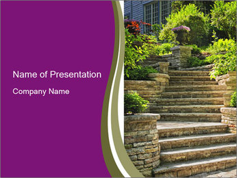 Natural stone stairs PowerPoint Template