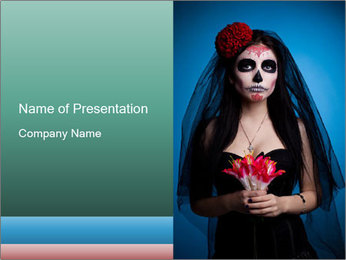 Woman in skull face PowerPoint Template