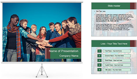 Happy College Students PowerPoint Template