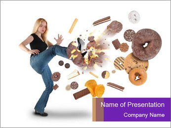 Woman is kicking a donut PowerPoint Template - Slide 1