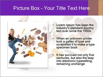 Woman is kicking a donut PowerPoint Template - Slide 13