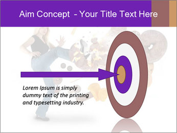 Woman is kicking a donut PowerPoint Template - Slide 83