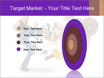Woman is kicking a donut PowerPoint Template - Slide 84