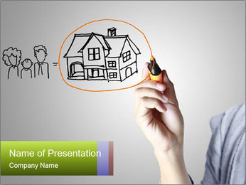 Hand drawing house PowerPoint Template - Slide 1