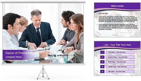 Mature businessman working PowerPoint Template