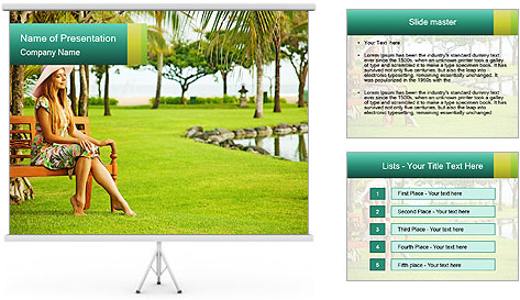 Woman sitting PowerPoint Template