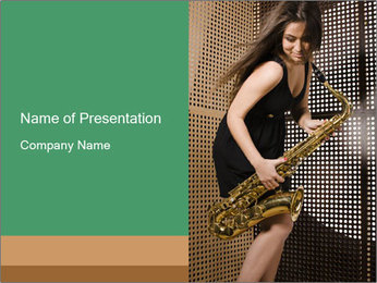 Woman with saxophone PowerPoint Templates - Slide 1