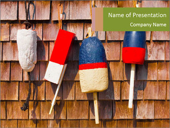 Red white and blue vintage fishing buoys PowerPoint Template