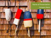 Red white and blue vintage fishing buoys PowerPoint Templates