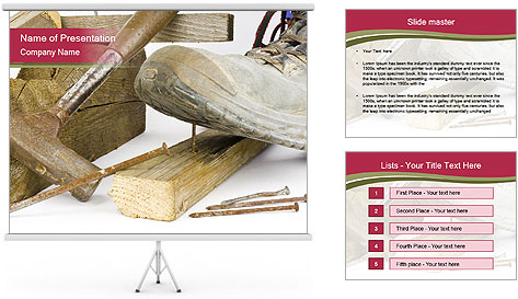 A worker in safety shoes PowerPoint Template