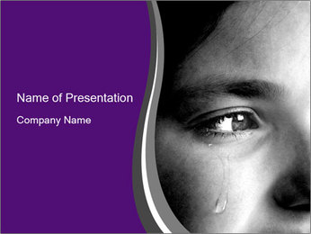 Closeup of girl crying PowerPoint Template