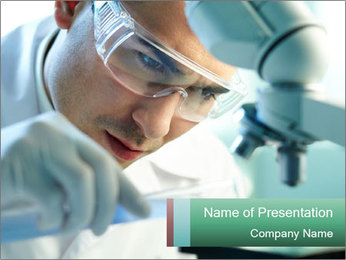 Serious clinician studying PowerPoint Template