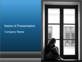 Depressed young girl PowerPoint Template
