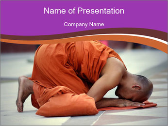 Monk kneels down PowerPoint Templates - Slide 1