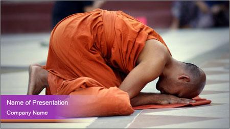 Monk kneels down PowerPoint Template