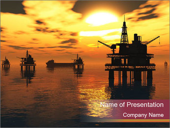 Sea Oil Platform and Tanker PowerPoint Templates - Slide 1