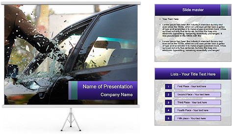 Man breaking a car's PowerPoint Template