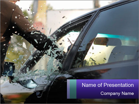 Man breaking a car's PowerPoint Templates