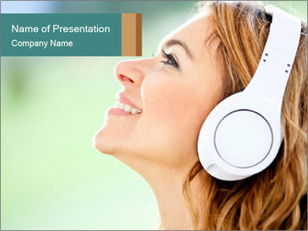 Woman with headphones PowerPoint Template - Slide 1