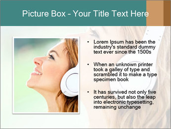 Woman with headphones PowerPoint Templates - Slide 13