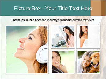 Woman with headphones PowerPoint Template - Slide 19
