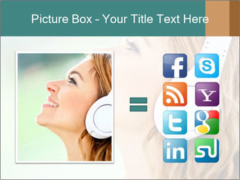 Woman with headphones PowerPoint Template - Slide 21