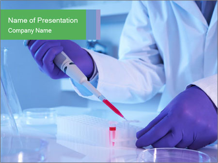Scientist using pipette in laboratory PowerPoint Template