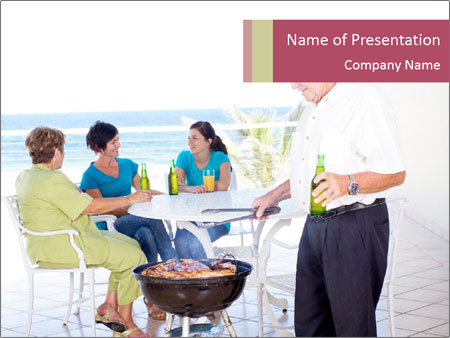 Family on balcony PowerPoint Templates